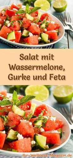 Melonen-Rezepte zum Abnehmen: Salat mit Wassermelone, Gurke und Feta kalorienarm, gesund und lecker, das perfekte Diät-Rezept für die schlanke Linie ...
