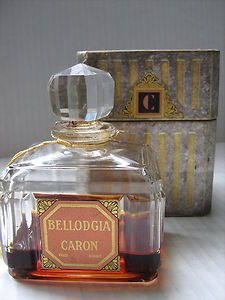 "Antique ""Bellodgia"" by Caron Perfume Bottle & Box Signed Baccarat Bottle Stopper 