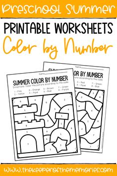 These Color by Number Summer Preschool Worksheets are perfect for practicing early math skills like number identification with your preschooler. Get yours today!#preschoolworksheets #colorbynumber #counting #preschoolmath Sensory Activities Toddlers, Preschool Themes, Kids Learning Activities, Preschool Worksheets, Preschool Activities, Homeschooling Resources, Preschool Classroom, Classroom Decor, Teaching Ideas