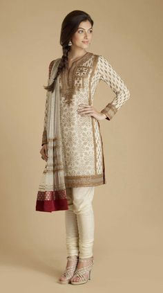 Red and cream shimmering georgette kurta churidar with zardozi embroidery by Ritu Kumar $680