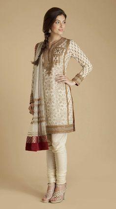 Red and cream shimmering georgette kurta churidar with zardozi embroidery by Ritu Kumar $680