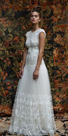 lihi hod bridal 2016 aria cap sleeve wedding dress lace embellished bodice skirt belt front view