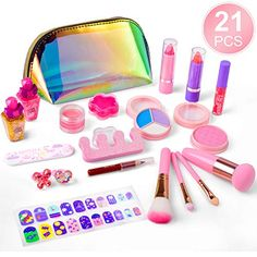 Little Girls Makeup, Little Girl Gifts, Makeup Kit For Kids, Kids Makeup, Makeup Toys, Makeup Set, Jewelry Box Makeover, Shimmer Lip Gloss, Nail Art Set