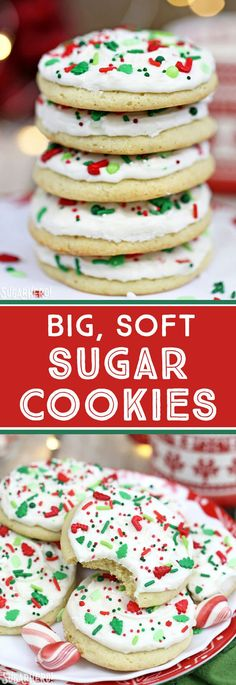 Big Soft Sugar Cookies - like you get from a bakery, but WAY better! Light and fluffy sugar cookies topped with delicious vanilla frosting! | From SugarHero.com #SugarCookies #holidaytreats