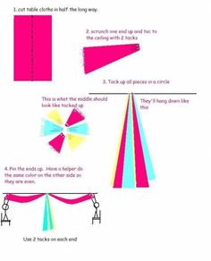 """tablecloth streamers - how to make those """"streamers""""!"""