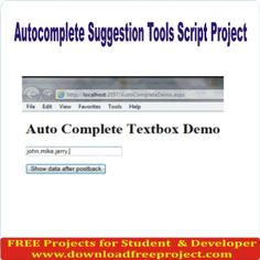 Free Autocomplete Suggestion Tools Script In PHP Projects Download