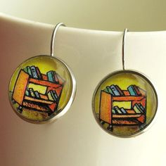 Library Cart Earrings Librarian Book truck Jewelry Literary Theme. $19.95, via Etsy.