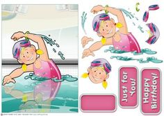 Cute Swimmer Girl  on Craftsuprint designed by Gordon Fraser - This cute kid goes for her Bronze Swimming Certificate! Easy to make with decoupage, blank and sentiment tiles! More versions of this design are available! Don't forget to check out my other Dudes and designs! - Now available for download!