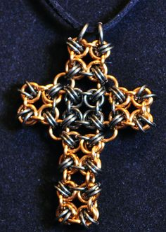Chainmaille Cross Pendant tutorial@ https://www.etsy.com/listing/225077447/b2g-chainmaille-cross-pendant-tutorial?ref=shop_home_active_1