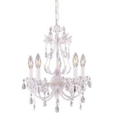 The chandelier we bought for the baby's room. It has an antique white finish with just a hint of pink.