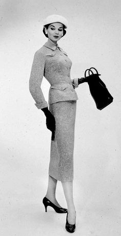 1956 Model in gray and white worsted suit by Sophie Originals of Saks Fifth Avenue