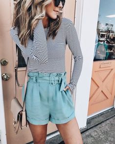 1cd861df Striped top with cute turquoise shorts. Ootd Spring, Spring Shorts, Spring  Summer Fashion