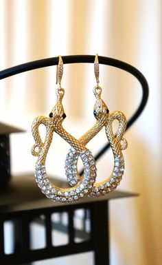 Teardrop Jewels Crystal Drop Snake Earrings Bridal by VintagePinch, $57.99 #etsy #loveit #fblogger #fashionblogger #weddingblogger #momblogger #blogger #want #bridal #musthave #want #trendy #fashionfinds #fashionista #earrings #crystal