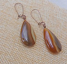 Rustic Brown Translucent Agate Earrings, copper, stone, statement, Autumn, Fall, neutral, hand wrapped, gift for mom, Christmas gift, orange - pinned by pin4etsy.com