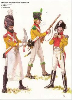 Swiss; Neuchatel Battalion, Poland, Summer 1812, Sapper Sergeant, Voltigeur and Senior Officer.