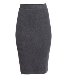 Dark gray. Knee-length fitted skirt in jersey with elasticized waistband.