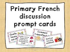 Primary+French+discussion+prompt+cards -+Use+as+whole+class/small+group/centre+activity Ideas: -+Attach+cards+on+a+ring,+have+students+flip+throu. French Teaching Resources, Teaching French, Teaching Ideas, French Classroom, Classroom Fun, Basic French Words, Communication Orale, Learning French For Kids, French Conversation