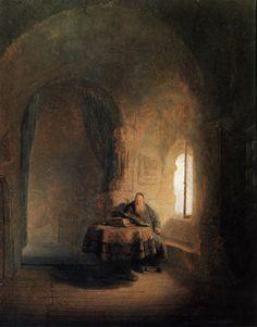 "REMBRANDT ""Scholar Reading"" 1631, Oil on panel, 60 cm x 48 cm, Nationalmuseum, Stockholm"