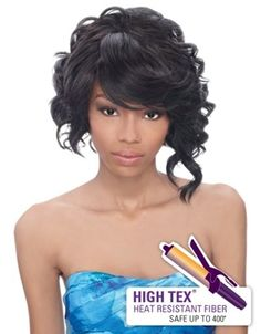 Outre Lace Front Wig Shorty, EXCELLENT SERVICE  Chic, short style lace front wig with swoop bang, loose curls, heat friendly fibers and an asymmetrical cut that is oh so sexy!