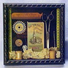 shadowbox filled with a wonderful array of vintage sewing items. Sewing Box, Box Frames, Shadow Box, Vintage Sewing, Vintage Antiques, Needlework, Joseph Cornell, Old Things, Boxes