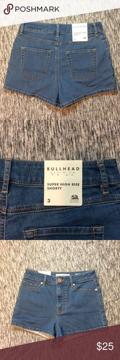 NWT Bullhead High Rise Shorts Brand new with tags. They are Super High Rise Shorties. Size 3 or 25 inches. Made from 88% Cotton, 11% Polyester, and 1% Spandex. Bullhead Shorts Jean Shorts