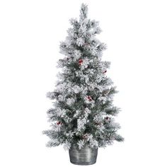 Vickerman x Flocked Pine Berry Tree Berry, Snow Flock, Pre Lit Christmas Tree, Flocking, Pine Cones, Frost, Diy, Beautiful, Fake Snow