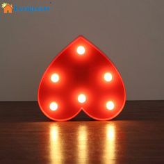 LumiParty Heart LED Night Light Romantic Marquee Heart Sign Table Lamp LED Hanging Light LED Marquee Heart Home Decor Accents #Affiliate