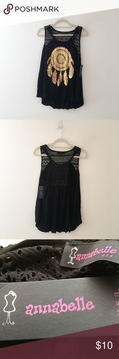 ANNABELLE Black Gold Dreamcatcher Print Tank Top Cute Annabelle Black Gold Dreamcatcher Print Tank Top! Comfortable and soft to the touch! Tagged as an XL but runs smaller message for measurements. Annabelle Tops Tank Tops