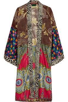 Duro Olowu printed satin and georgette cape