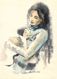 Mother And Child Watercolor Painting by Cristina Movileanu.  Cristina of Moldova's artwork is  wonderfully soft realism!