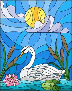 Swan in a lake stained glass icon. – Millions of Creative Stock Photos, Vectors, Videos and Music Files For Your Inspiration and Projects. Stained Glass Quilt, Stained Glass Birds, Faux Stained Glass, Stained Glass Designs, Stained Glass Patterns, Glass Painting Patterns, Glass Painting Designs, Paint Designs, Mosaic Art