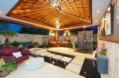 beautiful outdoor patio design with tropical theme Indoor Outdoor Bathroom, Outdoor Baths, Outdoor Showers, Outdoor Rooms, Million Dollar Rooms, Outdoor Patio Designs, Patio Ideas, Garden Ideas, Porch Designs