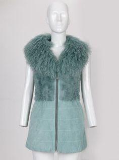 Green Mongolian Fur Collar Stitching Suede Faux Fur Coat P1310