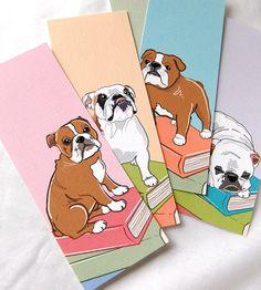 Bulldog Bookmarks  Ecofriendly Set of 5 by AfricanGrey on Etsy, $6.50