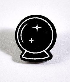 Black & White Crystal Ball Acrylic Pin