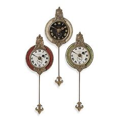 This Uttermost Monarch Wall Clock features 3 clocks with a weathered motif and beautiful brass detail. This set of three clocks will make a stylish addition to any room.