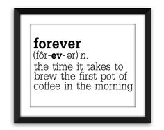 Funny Coffee Kitchen Print  Definition of by BackPorchPrints
