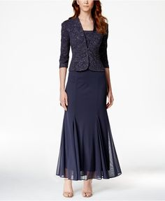 Alex Evenings Petite Sleeveless Glitter Gown and Jacket - Dresses - Women - Macy's