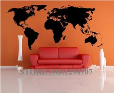 World Map wall stickers for kids rooms removable pvc Art decals cute kid home decor for kids rooms poster mural #Affiliate