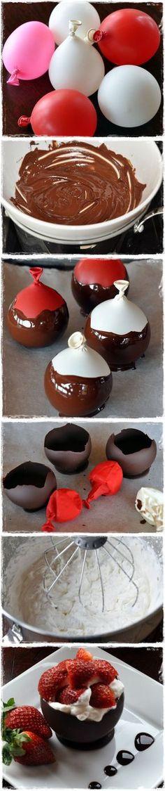 day dessert Chocolate Bowls with Chambord Whipped Cream and Berries.Chocolate Bowls with Chambord Whipped Cream and Berries. Yummy Treats, Delicious Desserts, Sweet Treats, Dessert Recipes, Yummy Food, Baking Desserts, Chocolate Bowls, Chocolate Desserts, Chocolate Cream