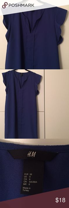 Blue shift dress Bright blue shift dress with ruffled cap sleeve, v neck with seam running down the front. Slightly worn but great condition H&M Dresses Midi