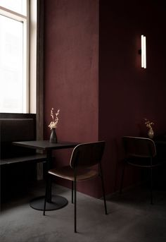 Nærvær wine bar & restaurant by Norm Architects in Copenhagen - Nordic Design Wine Bar Restaurant, Restaurant Design, Dark Interiors, Colorful Interiors, Scandinavian Interiors, Design Interiors, Scandinavian Design, Burgundy Walls, Burgundy Wine