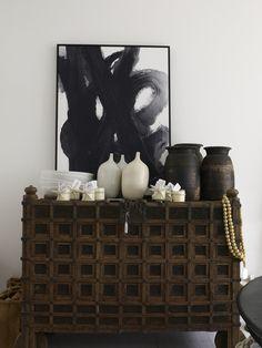 Antique Indian Grain Chest - Lumu Interiors// old pots for decoration Interior Styling, Interior Decorating, Interior Design, Interior Inspiration, Design Inspiration, Interior Ideas, Indian Furniture, Antique Furniture, African Interior