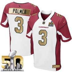 Nike Carson Palmer Elite White Men s Jersey - NFL Arizona Cardinals  3  Collection Super Bowl 50 c128c78ce