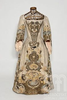 Silver Woven Gown with Heavy Embroidery, ca. 1720 via Narodni Museum