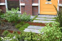 Stepping stones in green... corten steel steps complete the colour combinations