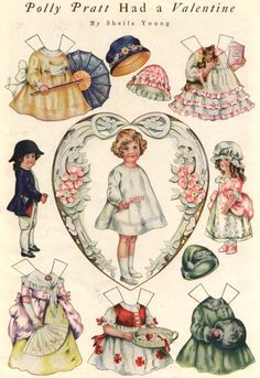 Free printable Polly Pratt Valentine's Day paper dolls