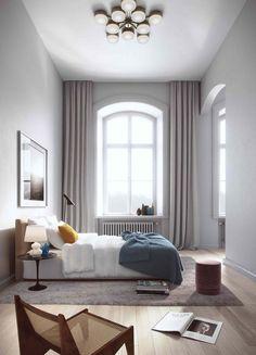 """""""Rofyllt sovrum. Den valda accentfärgen petroleum återkommer 3 ggr som sig bör, i fönstret, som sängöverkast och på nattduksbordet. En bra regel om man vill undvika ett rum att bli plottrigt! Att addera en kudde med komplementfärgen  gult gör rummet mer intressant och personligt."""""""