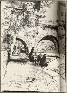 Ronald Searle, Paris Sketchbook, Pont Neuf// my style of pen drawing Drawing Sketches, Art Drawings, Drawing Ideas, Ronald Searle, Arte Sketchbook, Art Et Illustration, Sketchbook Inspiration, Urban Sketching, Art Design