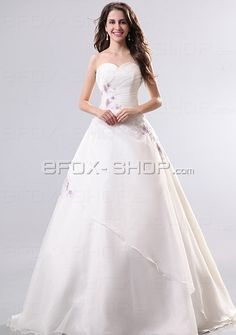 A-Linie Herzausschnitt Bodenlang Brautkleid mit Lace aus Organza